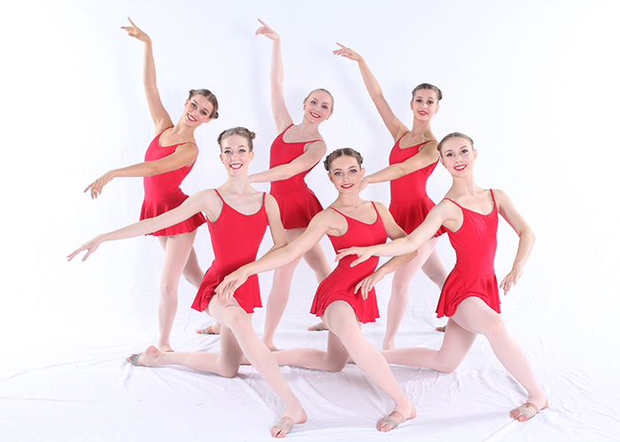 senior dancers in red