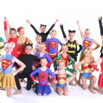 Junior dancers dressed as superheros