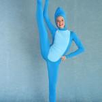 dancer in blue jumpsuit
